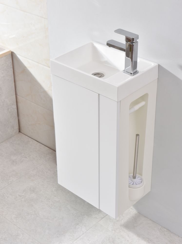 Vanity Unit with Toilet Brush and Toilet Paper Holder - Compact 400 - Matt White - optional mirror or mirror cabinet – Bild 4
