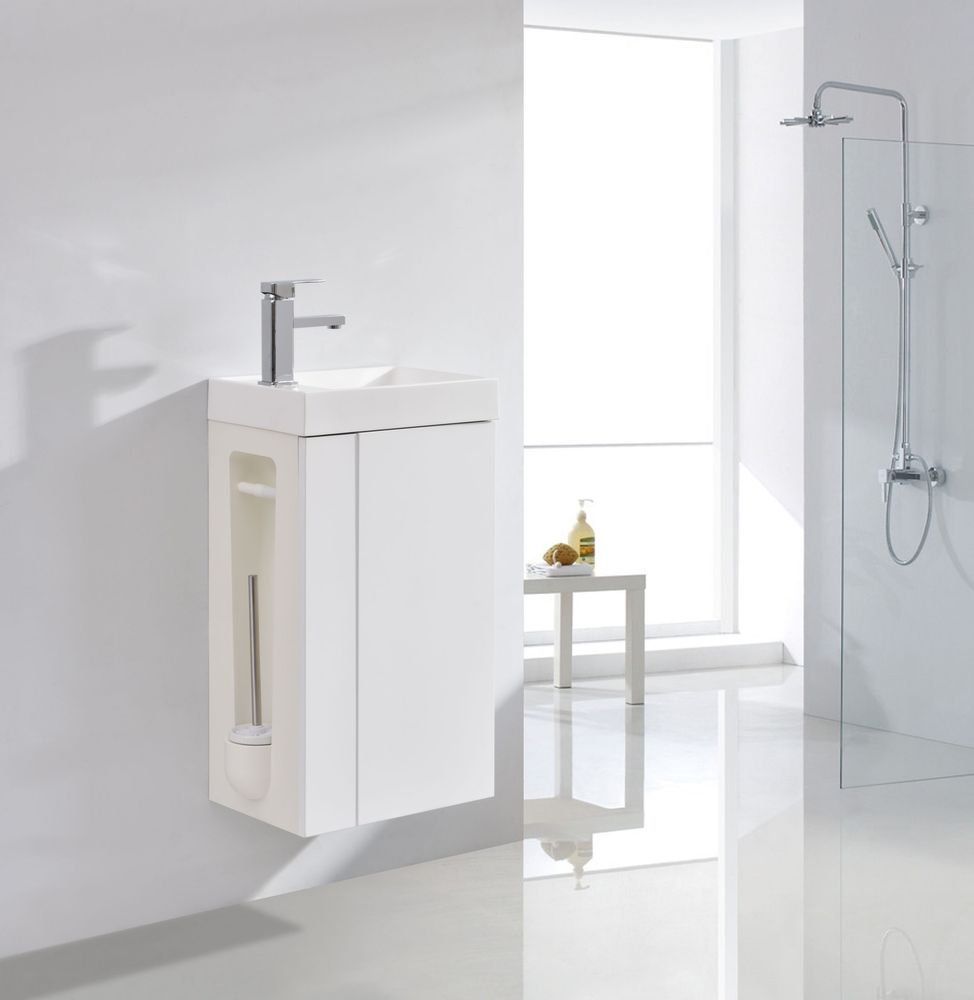 Vanity Unit with Toilet Brush and Toilet Paper Holder - Compact 400 - Matt White - optional mirror or mirror cabinet – Bild 1