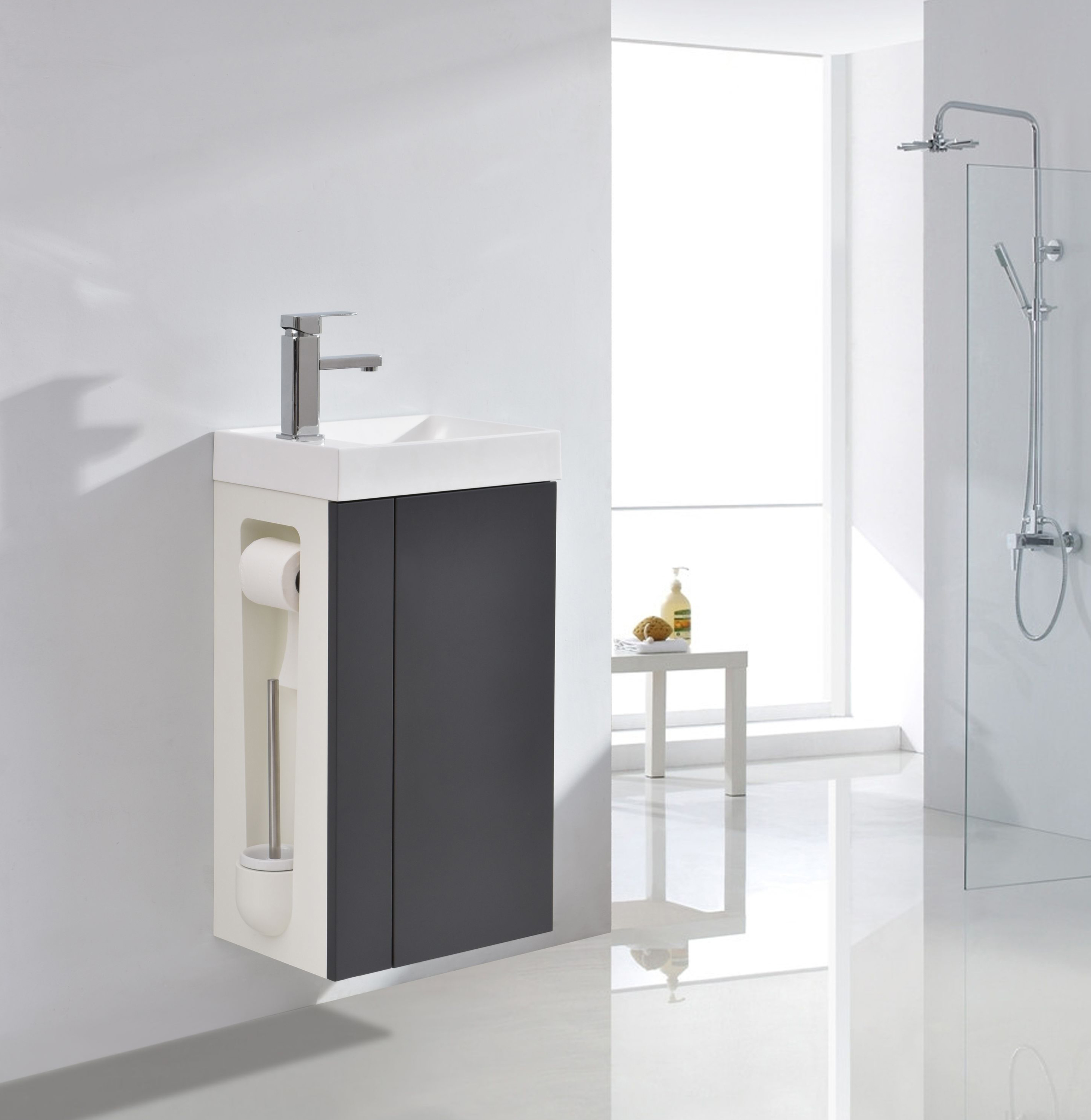 Vanity Unit with Toilet Brush and Toilet Paper Holder - Compact 400 - Matt Anthracite - optional mirror or mirror cabinet