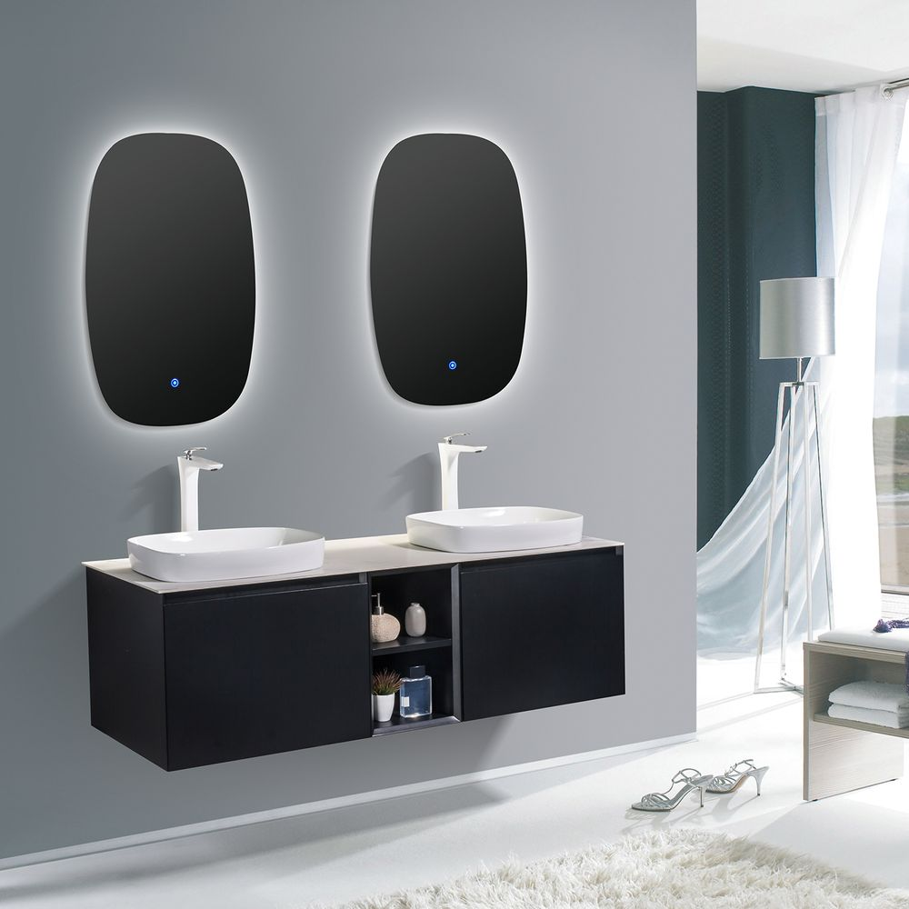 Bathroom Furniture Set INALCO 1500 - black powder coated  - mirror optional – Bild 1