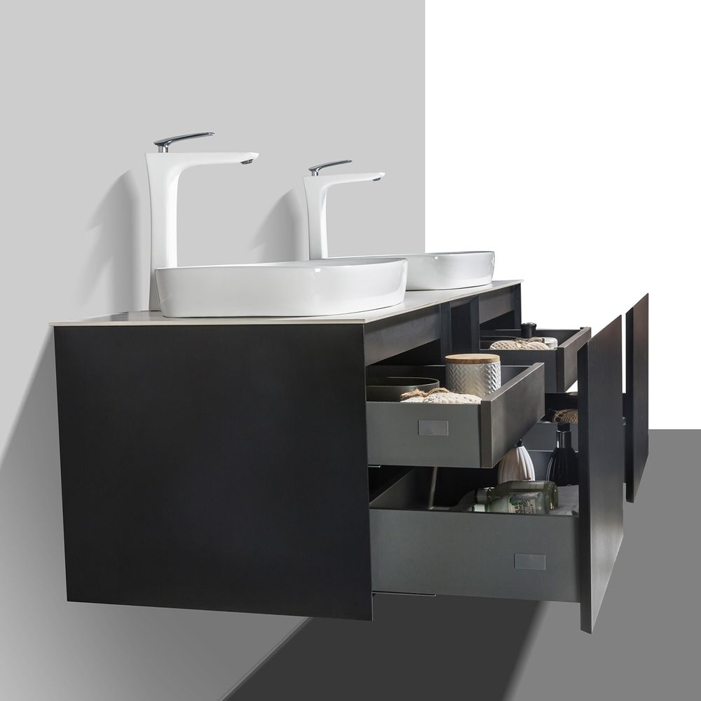 Bathroom Furniture Set INALCO 1500 - black powder coated  - mirror optional – Bild 4