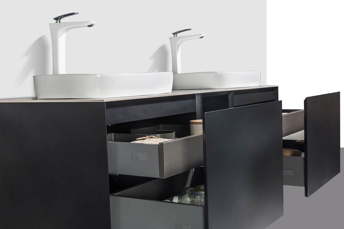 Bathroom Furniture Set INALCO 1500 - black powder coated  - mirror optional – Bild 5