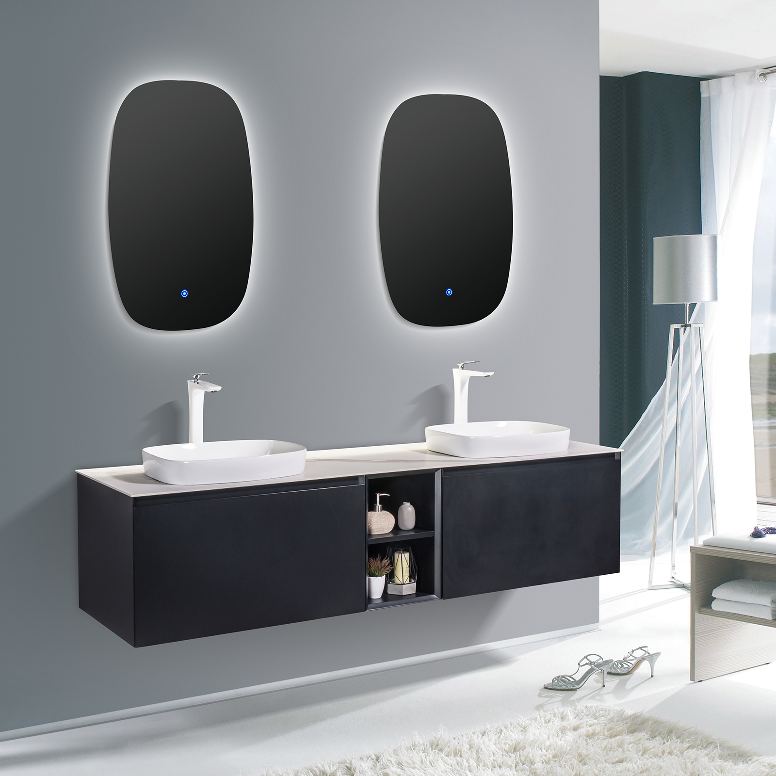 Salle De Bain Revetement ensemble de meubles de salle de bain inalco 1900 noir