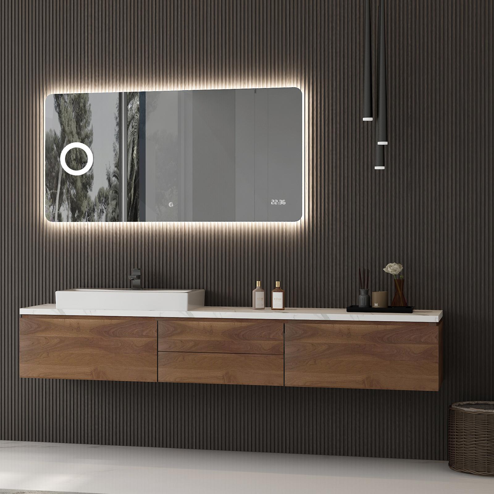 LED Lichtspiegel Badspiegel 2436 mit Spiegelheizung, Kosmetikspiegel & Digitaluhr - Breite wählbar