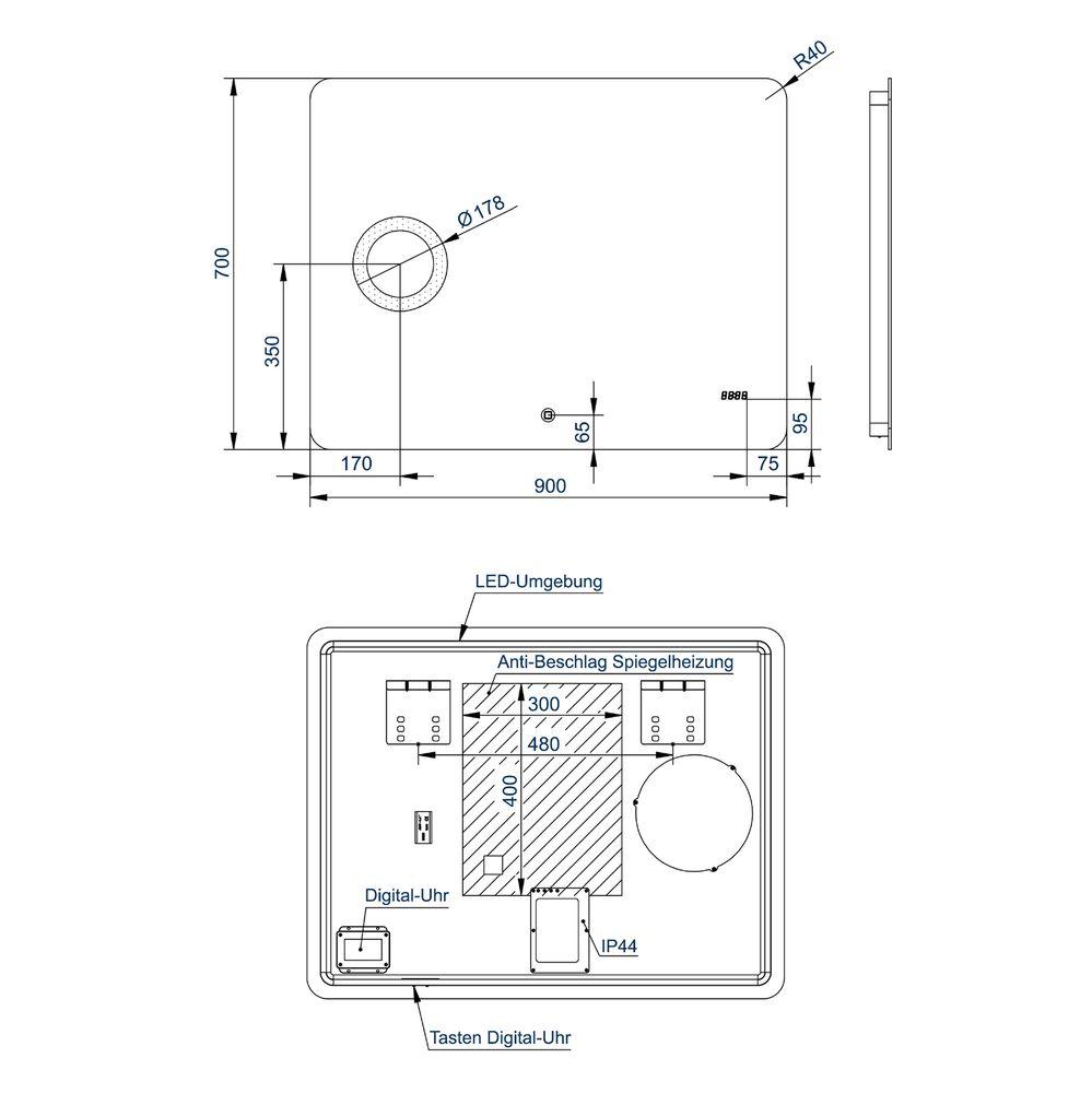 LED Lichtspiegel Badspiegel 2436 mit Spiegelheizung, Kosmetikspiegel & Digitaluhr - Breite wählbar – Bild 5