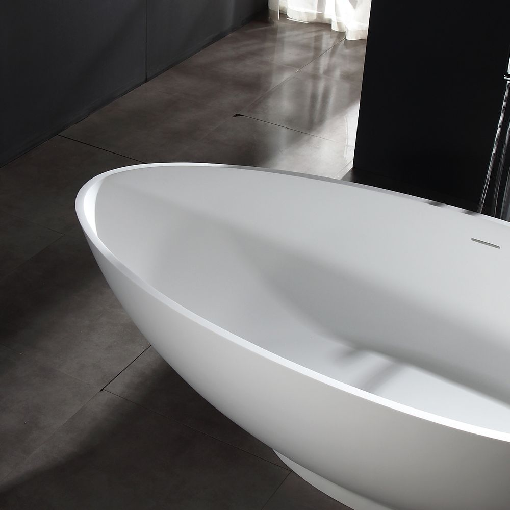 Freestanding Bathtub VIGO - Mineral Cast (Solid Stone) - Matt White -   available in different dimensions – Bild 5