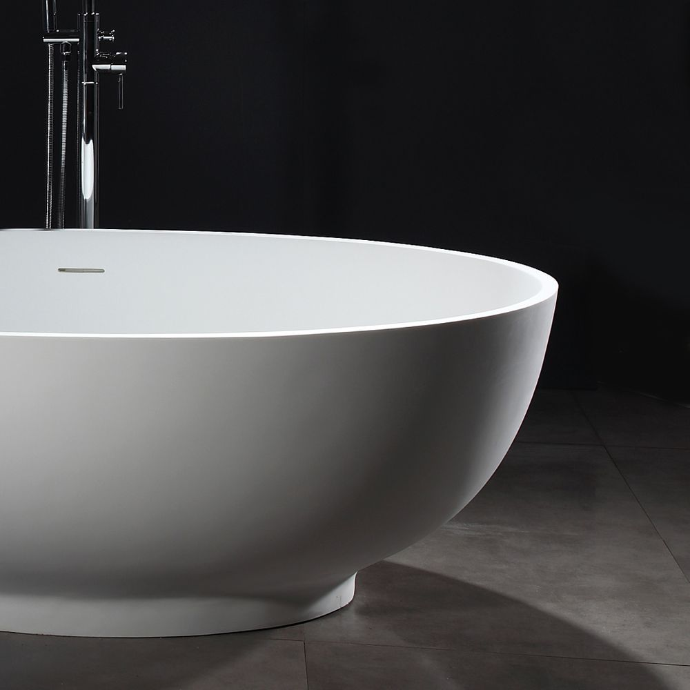 Freestanding Bathtub VIGO - Mineral Cast (Solid Stone) - Matt White -   available in different dimensions – Bild 6