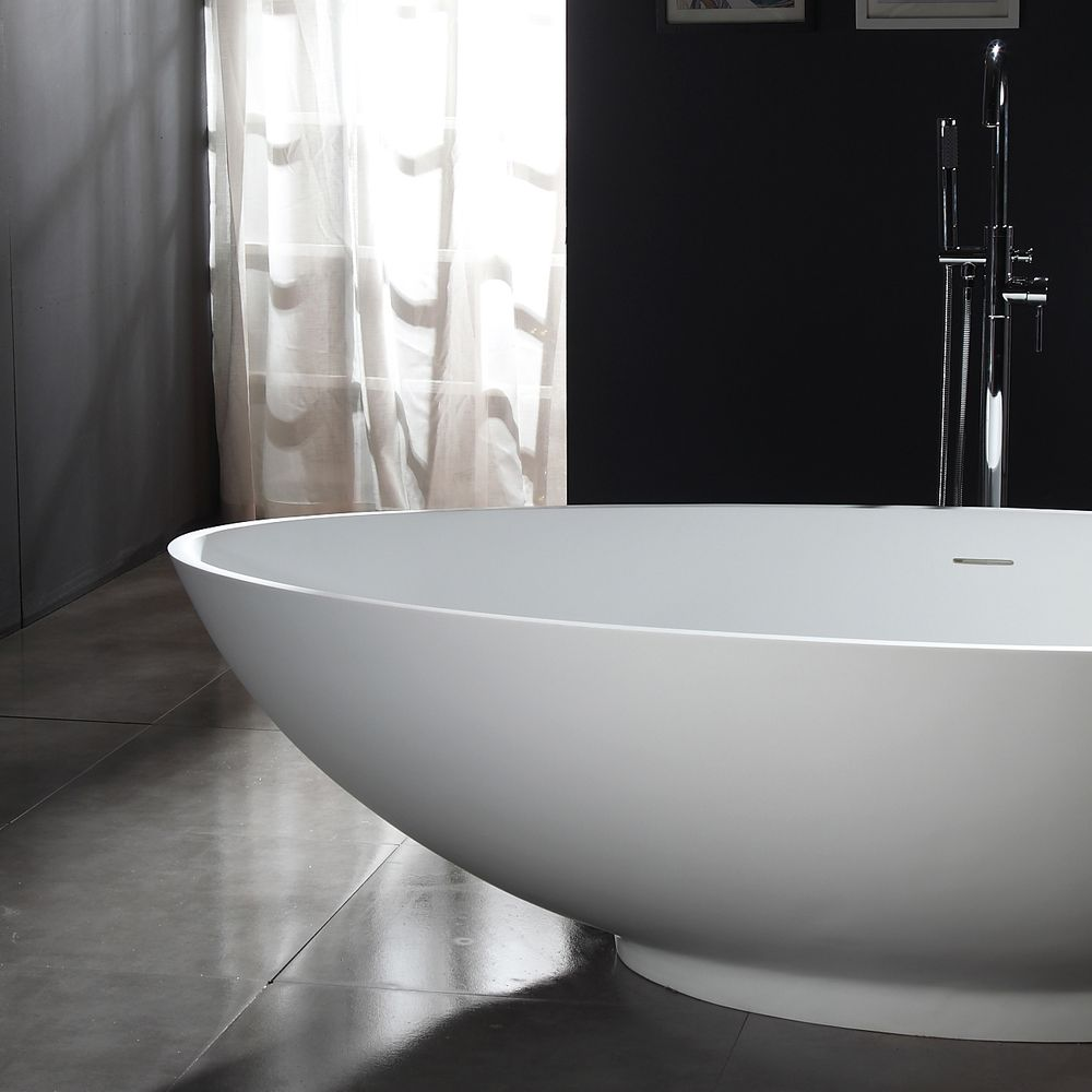 Freestanding Bathtub VIGO - Mineral Cast (Solid Stone) - Matt White -   available in different dimensions – Bild 7