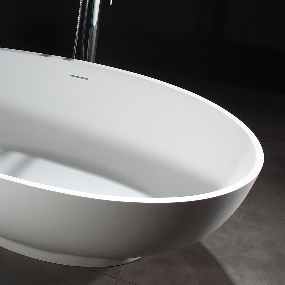 Freestanding Bathtub VIGO - Mineral Cast (Solid Stone) - Matt White -   available in different dimensions – Bild 8