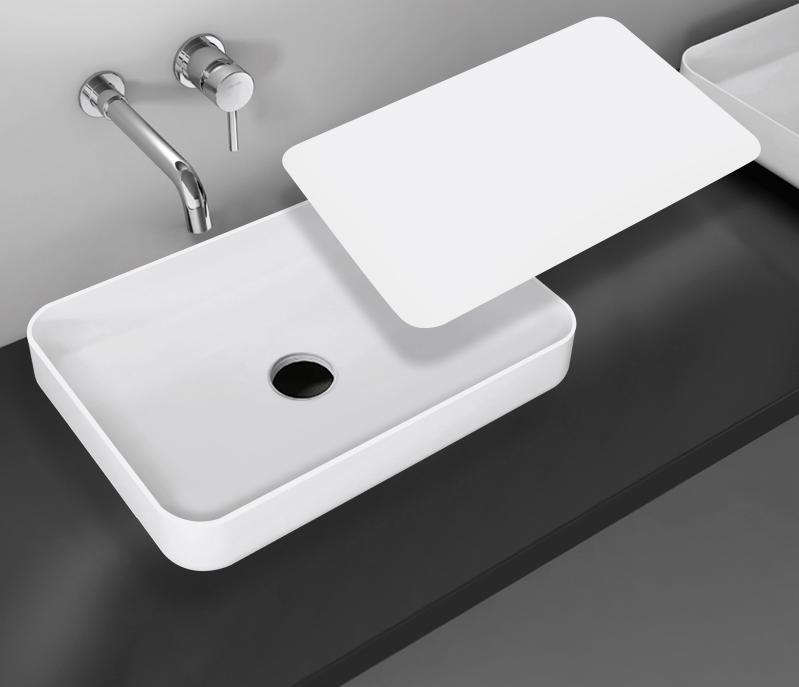 Matt White Rectangular Countertop Basin NT38 -  Solid Stone -  60 x 40 x 11 cm – Bild 2