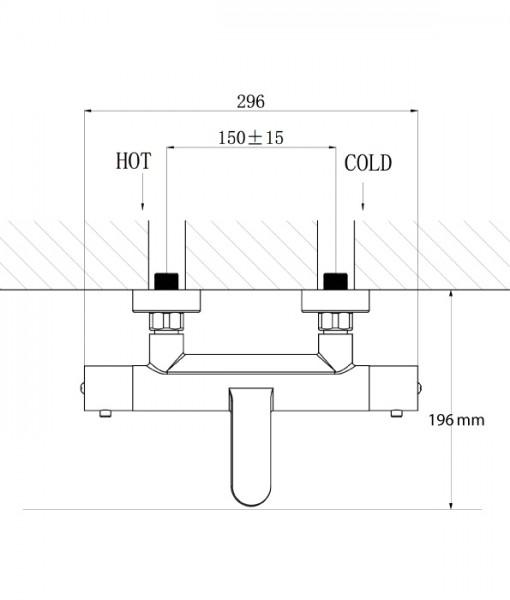 BERNSTEIN Wall Mounted Thermostatic Bath Shower Mixer Tap 4051 - optional Shower Rail, Shower Hose and Hand Shower  – Bild 4