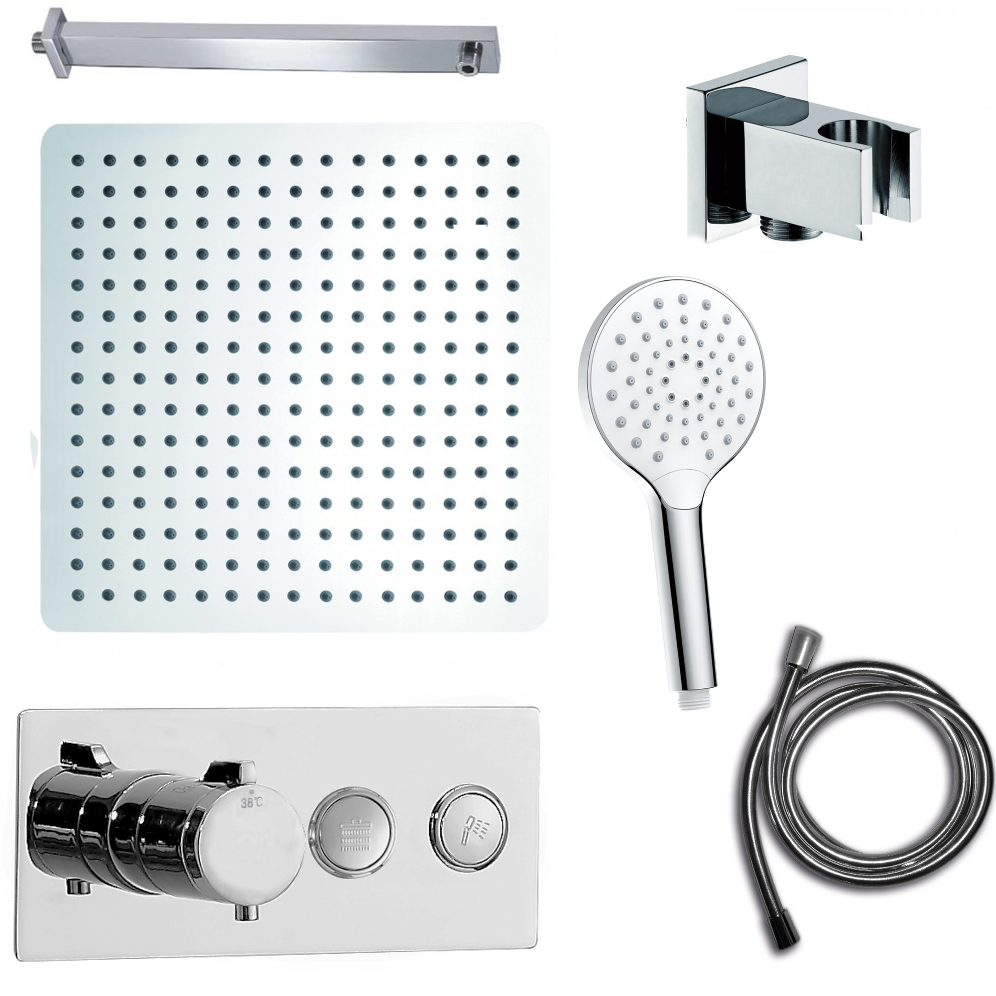 Shower Set with Concealed Thermostatic Shower Mixer Valve NT7176 - Shower Head and Hand Shower