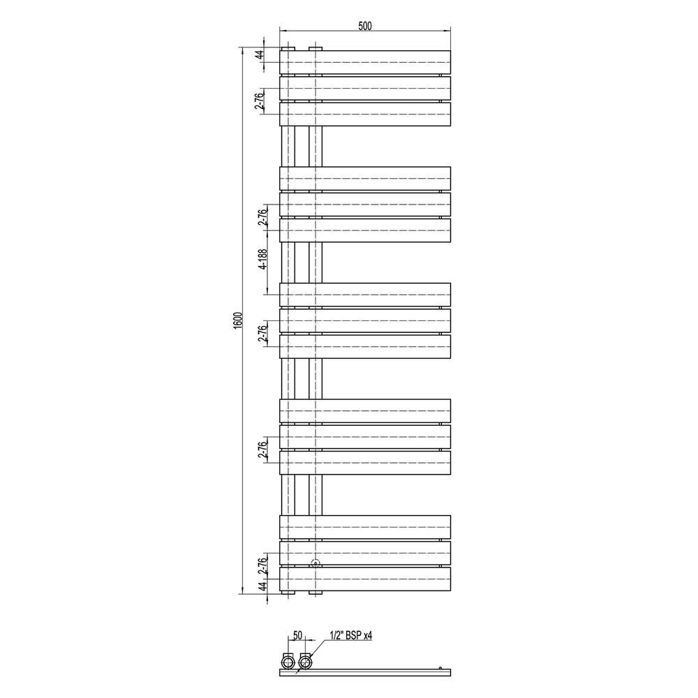 Design Badheizkörper Handtuchwärmer D16G in Anthrazit - Größe wählbar – Bild 4