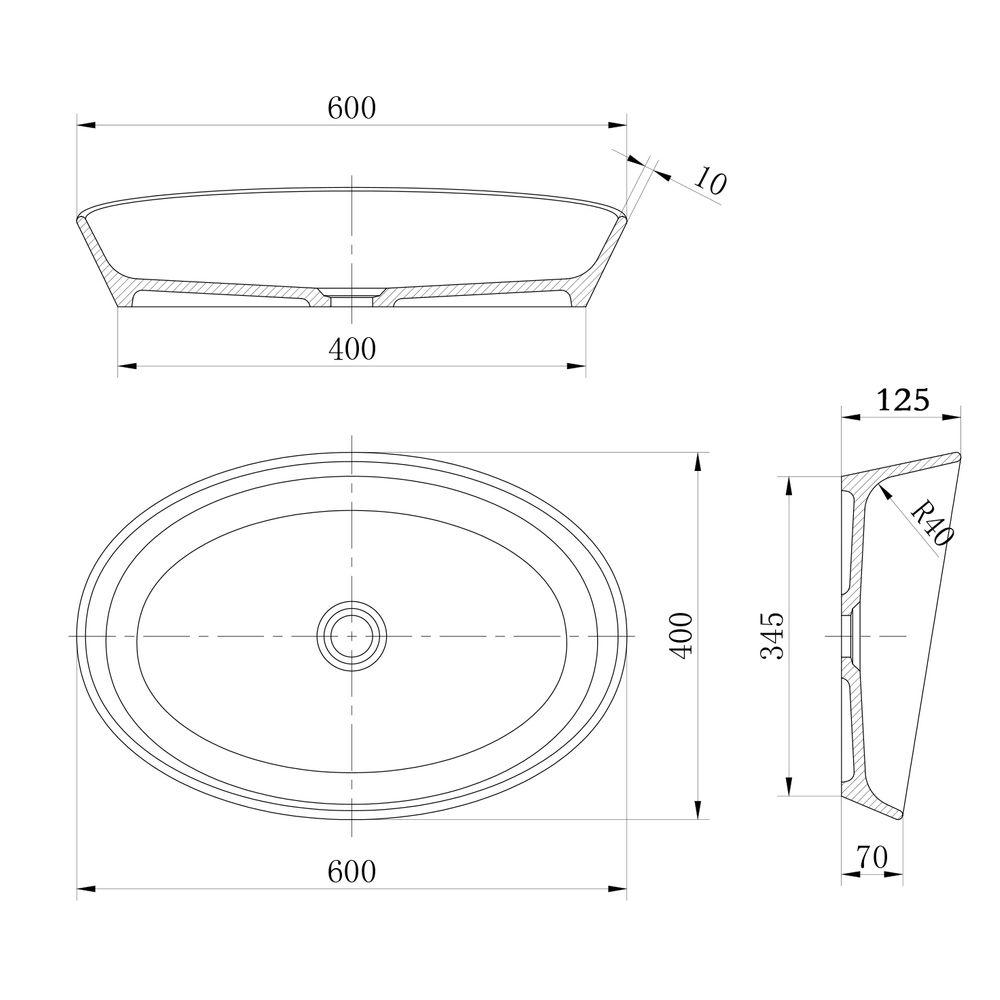 Matt White Countertop Basin - NT2660 - Solid Surface - 60 x 40 x 12,5 cm  – Bild 3
