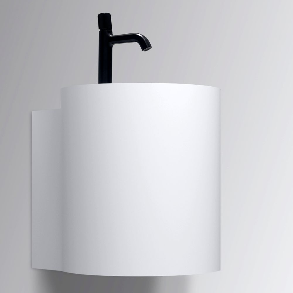 Matt White Wall Mounted Bathroom Basin NT2440 - Solid Surface - 40 x 42 x 45 cm  – Bild 4