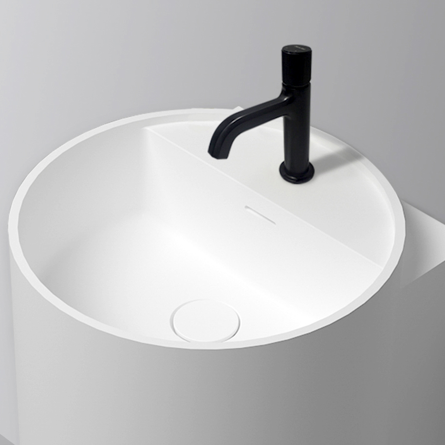 Matt White Wall Mounted Bathroom Basin NT2440 - Solid Surface - 40 x 42 x 45 cm  – Bild 5