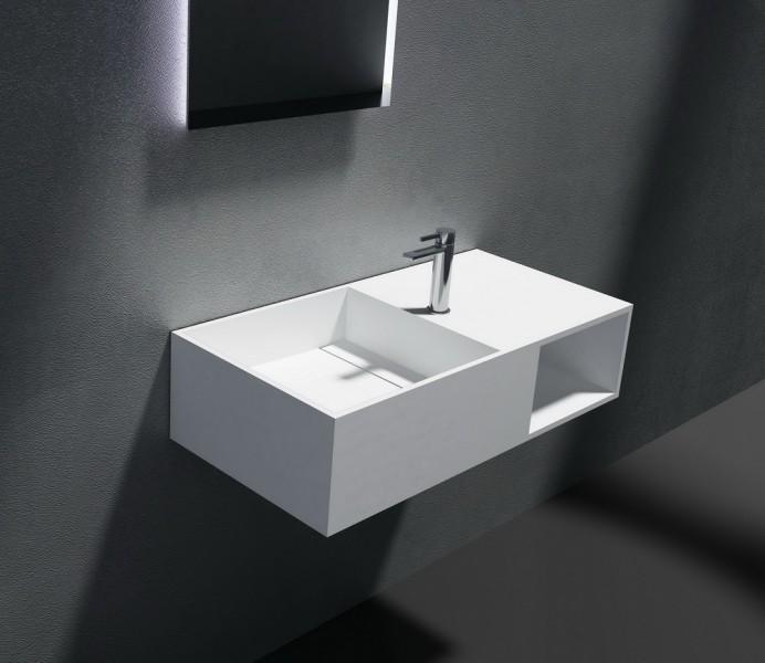 Wandwaschbecken aus Mineralguss inkl. Armaturloch PB2037 weiß - Solid Stone - 80 x 40 x 20 cm – Bild 1