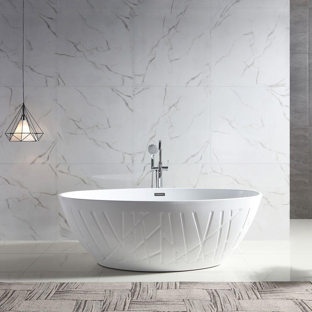 Freestanding Bathtub LEO - Sanitary Acrylic - Glossy White - 175 x 100 x 58 cm - optional taps – Bild 2