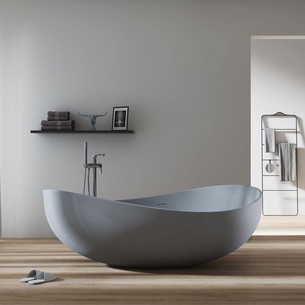 Freistehende Badewanne WAVE STONE aus Mineralguss - Grau matt  – Bild 1
