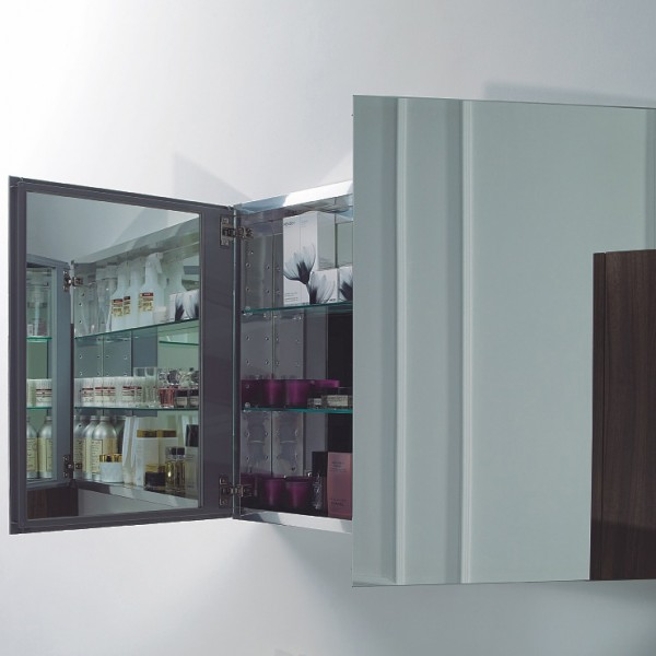 Aluminium-Spiegelschrank 2-türig - innen und außen Spiegel - 100 x 66 x 12 cm – Bild 2