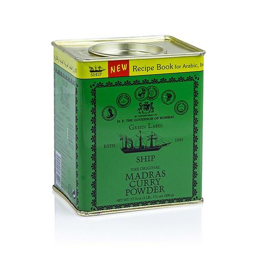 Curry-Pulver  Madras , grüne Dose, Poonjiaji, 500g
