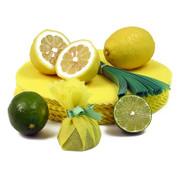 The Original Lemon Wraps - Zitronenserviertuch, gelb, mit grüner Krawatte, 100 St