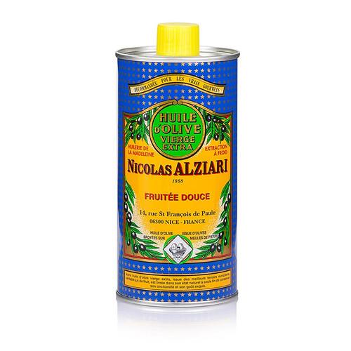 Olivenöl Extra Vierge, fruité douce/mild, von Alziari, blau-gelbe Dose, 500 ml