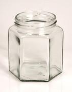 Glas, sechseckig, 390 ml, 70mm Mündung, ohne Deckel, 1 St