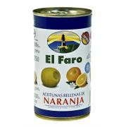Grüne Oliven, mit Orangenpaste, Manzanilla-Oliven, in Lake, El Faro, 350g