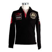 BOS FOOD EDITION Polo-Shirt La Guajiro, Langarm, schwarz/rot, Damen Gr. L, 1 St