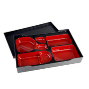 Bento Box, schwarz, roter Einsatz, Kunststoff, 38x26cm, 6,5cm hoch, 1 St