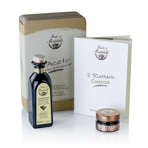 Aceto Balsamico Geschenkset, Buch + Aceto 250ml + Mostalmico, Fondo Montebello, 3 St