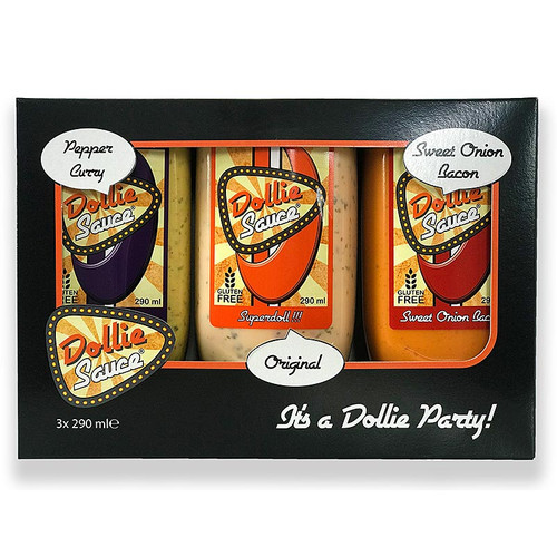 Dollie Saucen Set (Original, Pepper Curry, Sweet Onion Bacon), 870 ml, 3 x 290ml