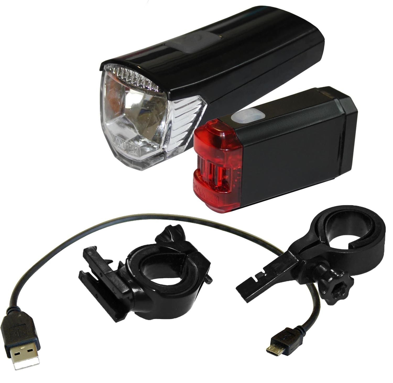 red loon akku led fahrradlampen fahrradlicht mit usb. Black Bedroom Furniture Sets. Home Design Ideas