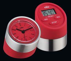 Cilio Digitaltimer Gemelli mit Uhr rot – Bild 1