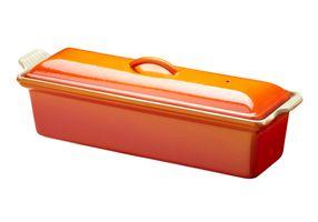 Le Creuset Pastetenbackform mit Deckel Farbe Ofenrot 32 x 11 cm