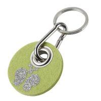 Metz Schlüsselanhänger RONDO - Motiv Schmetterling Filzfarbe kiwi, Flockfarbe silber Glitzer