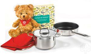 Schulte-Ufer 5-teiliges Geschenk Set für kindgerechtes Kochen mit Mini Fleischtopf, Bratpfanne, Kochbuch, Kochschürze und Plüsch-Teddy