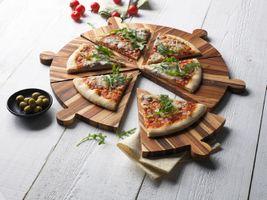 Proteak Servierbrett rund 51,5 cm für Pizza Tapas oder Käse 6-teilig – Bild 1