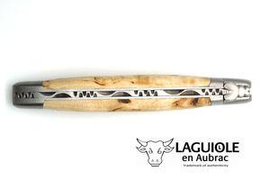 Laguiole en Aubrac Klappmesser Taschenmesser 12 cm Spezialmodell 2 Backen Edelstahl matt Birkenholz Klinge matt – Bild 6