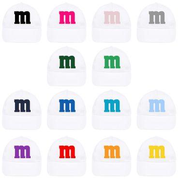 Cap Kinder M&M Schoko-Linse Gruppenkostüm Karneval Fasching weiß 14 Logo Farben – Bild 1
