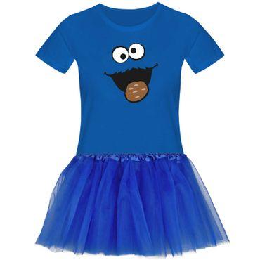 T-Shirt Krümelmonster mit Keks Kostüm Set + Tütü Tüllrock Karneval Damen XS - 3XL – Bild 3