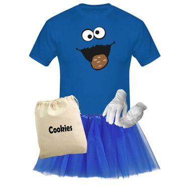 T-Shirt Krümelmonster mit Keks Kostüm Set + Tütü Tüllrock Karneval Herren XS-5XL – Bild 1
