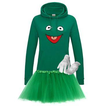 Hoodie Frosch Kostüm Set + Tütü Tüllrock Karneval Sesamstraße Damen XS - 2XL – Bild 1