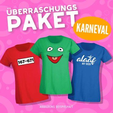 Blind-Buying T-Shirts Karneval Damen 3 Stk. Überraschungs-Shirts in Eurer Wunschgröße XS bis 3XL