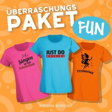 Blind-Buying T-Shirts Fun & Party Damen 3 Stk. Überraschungs-Shirts in Eurer Wunschgröße XS bis 3XL