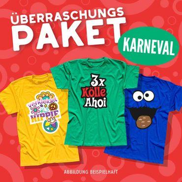 Blind-Buying T-Shirts Karneval Herren 3 Stk. Überraschungs-Shirts in Eurer Wunschgröße XS bis 5XL