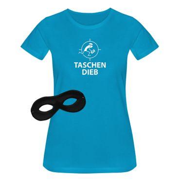 T-Shirt Taschendieb + Maske Verkleidung Kostüm Karneval 15 Farben Damen XS-3XL – Bild 12