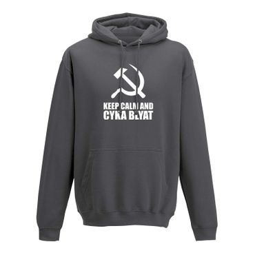 Hoodie Keep Calm and Cyka Blyat Meme Spruch Gamer Fun 10 Farben Herren XS-5XL – Bild 6