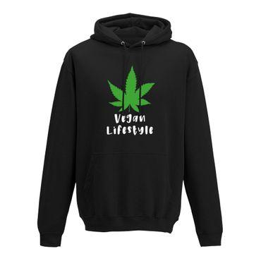 Hoodie Vegan Lifestyle Weed Cannabis Marihuana Gras 420 10 Farben Herren XS-5XL